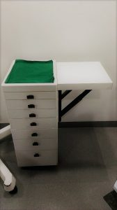 dental clinic interior design india - Folding top trolley for clinics with limited space