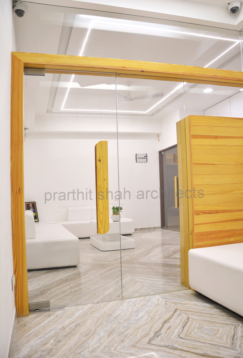 Modern White Office Interior Prarthit Shah Architects